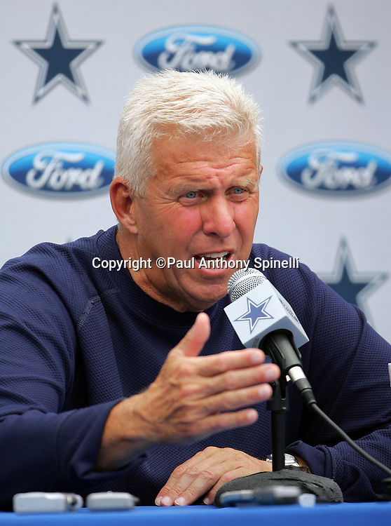 OXNARD, CA - AUGUST 9:  Head Coach Bill Parcells of the Dallas Cowboys talks to the media after the Dallas Cowboys training camp on August 9, 2006 in Oxnard, California. ©Paul Anthony Spinelli *** Local Caption *** Bill Parcells