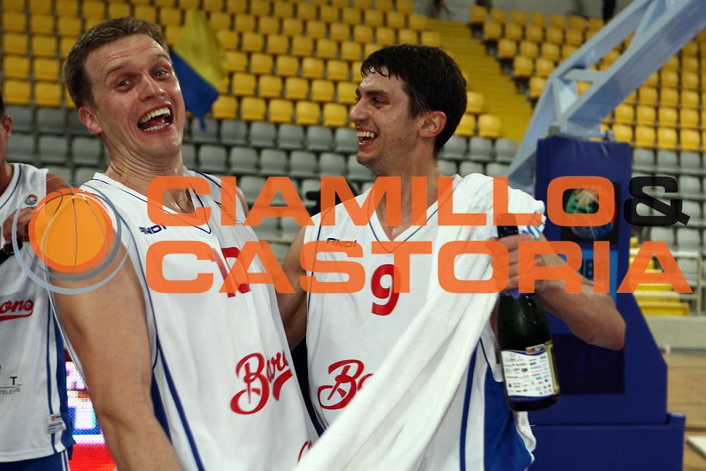 DESCRIZIONE : Cyprus Cipro Eurocup Men Final Four 2008 Final Barons LMT Dexia Mons-Hainaut<br /> GIOCATORE : Giedrius Gustas Dainius Adomaitis<br /> SQUADRA : Barons LMT<br /> EVENTO : Eurocup Men Final Four 2008<br /> GARA : Bourges Basket UMMC Ekaterinburg<br /> DATA : 20/04/2008 <br /> CATEGORIA : award premiazione esultanza<br /> SPORT : Pallacanestro<br /> AUTORE : Agenzia Ciamillo-Castoria/E.Castoria<br /> Galleria : Fiba Europe 2007-2008<br /> Fotonotizia : Cyprus Cipro Eurocup Men Final Four 2008 Final Barons LMT Dexia Mons-Hainaut<br /> Predefinita :
