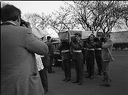 Body of Private Stephen Griffin killed in Lebanon is returned to his home soil..1980-04-19.19th April 1980.19-04-1980.04-19-80..Photographed at Arbor Hill:..Pall bearers from the Ist Field Engineers Company, Cork, colleagues of the late Private Stephen Griffin, carry the tricolour draped coffin of their dead comrade into the Church at Arbor Hill, Dublin.