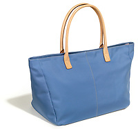 lands end tote bag in blue with cream handles