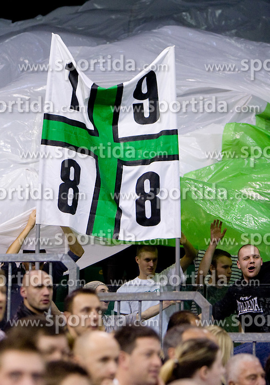 Fans Green Dragons at Euroleague basketball match of Group C between KK Union Olimpija, Ljubljana and Maroussi B.C., Athens, on October 29, 2009, in Arena Tivoli, Ljubljana, Slovenia. Olimpija lost 75:81.  (Photo by Vid Ponikvar / Sportida)