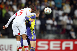 Ewerton of NK Braga and Dalibor Volas of NK Maribor at 3th round of European Leauge football match between Nk Maribor and Nk Braga, November 20, 2011, in Maribor, Slovenia (Photo by Urban Urbanc / Sportida ) .