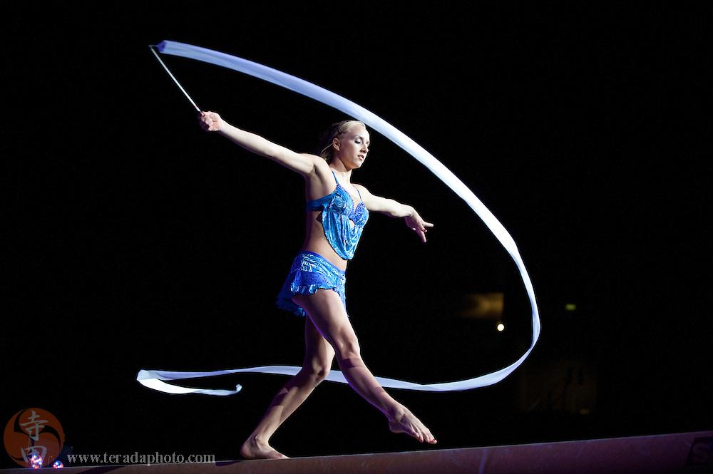 Sep 21, 2008; San Jose, CA, USA; Nastia Liukin performs on the balance beam during the 2008 Tour of Gymnastics Superstars post-Beijing Olympic tour at HP Pavilion in San Jose, CA. Mandatory Credit: Kyle Terada-Terada Photo