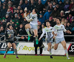 Saracens' Alex Goode claims the highball<br /> <br /> Photographer Simon King/Replay Images<br /> <br /> European Rugby Champions Cup Round 5 - Ospreys v Saracens - Saturday 13th January 2018 - Liberty Stadium - Swansea<br /> <br /> World Copyright © Replay Images . All rights reserved. info@replayimages.co.uk - http://replayimages.co.uk