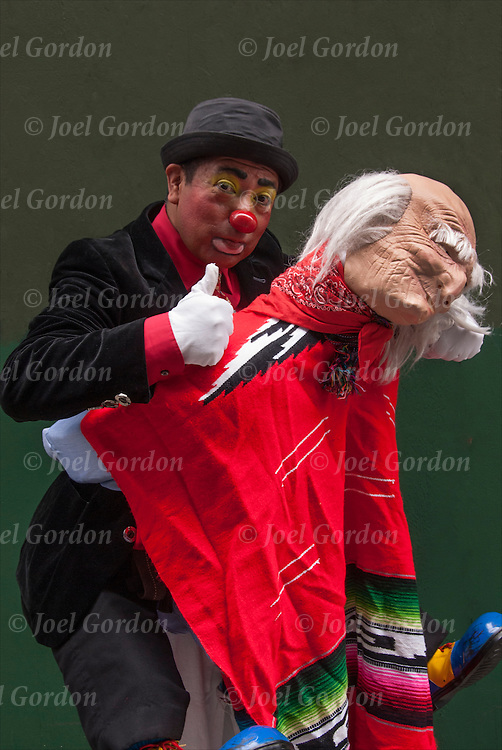 Mexican Day parade in NYC, portrait of Mexican American clown in costume showing his ethnic pride.