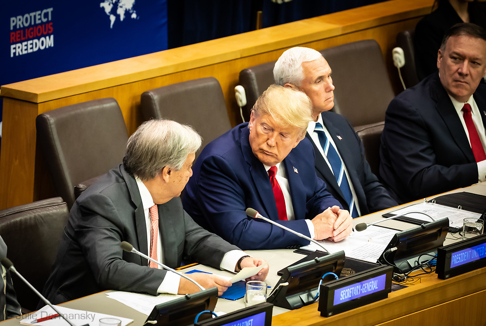 "UN Secretary General Antonio Guterres next to President Donald Trump and US Vice  and the United States Secretary of State Mike Pompeo  at the ""Global Call To Protect Religious Freedom"" conference at the United Nations General Assembly at the United Nations Headquarters, September 23, 2019. President Trump stopped in at the Climate Action Summit for about fifteen minutes, but didn't participate."