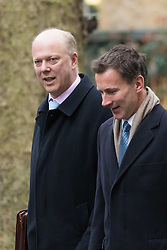 Downing Street, London, February 11th 2016. Leader of the House of Commons Chris Grayling, left, and Health Secretary Jeremy Hunt attend the weekly cabinet meeting. <br /> &copy;Paul Davey<br /> FOR LICENCING CONTACT: Paul Davey +44 (0) 7966 016 296 paul@pauldaveycreative.co.uk