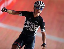 October 26, 2017 - London, England, United Kingdom - Jules Hesters (BEL)(RED) winner of the..40km Madison 1878 Cup during day three of the London Six Day Race at the  Lee Valley Velopark Velodrome on October 26, 2017 in London, England. (Credit Image: © Kieran Galvin/NurPhoto via ZUMA Press)