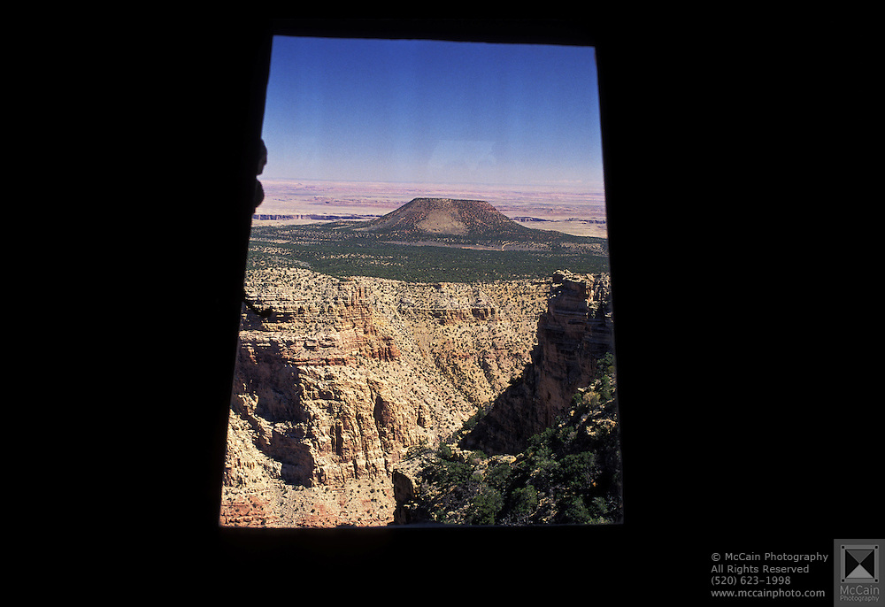 A view from a window in the wall of the Watchtower, Grand Canyon National Park, Arizona..Subject photograph(s) are copyright Edward McCain. All rights are reserved except those specifically granted by Edward McCain in writing prior to publication...McCain Photography.211 S 4th Avenue.Tucson, AZ 85701-2103.(520) 623-1998.mobile: (520) 990-0999.fax: (520) 623-1190.http://www.mccainphoto.com.edward@mccainphoto.com.