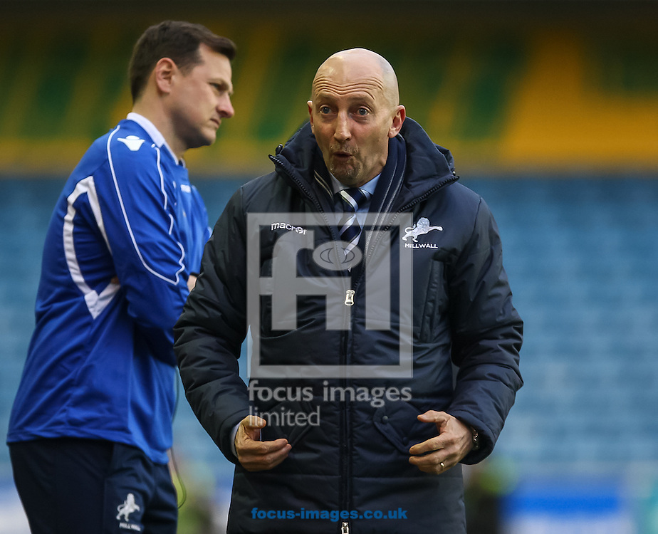 Picture by Daniel Chesterton/Focus Images Ltd +44 7966 018899<br /> 18/01/2014<br /> Millwall manager Ian Holloway gestures during the Sky Bet Championship match at The Den, London.