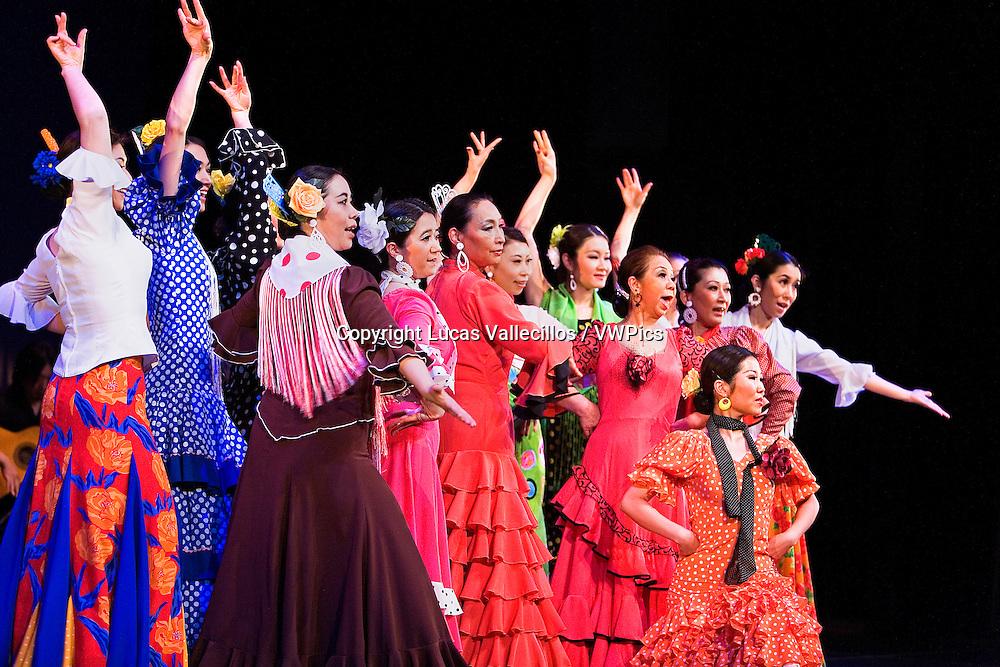 Flamenco dancers. Kayoko Nakata students dancing for the first time in a theater. In Morioka theatre.Morioka,Iwate prefecture,Japan.