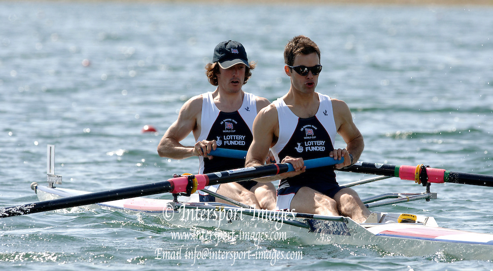 2005 FISA World Cup, Dorney Lake, Eton, ENGLAND, 27.05.05. GBR LM2- Nick English and stroke Daniel Harte.Photo  Peter Spurrier. .email images@intersport-images..[Mandatory Credit Peter Spurrier/ Intersport Images] , Rowing Courses, Dorney Lake, Eton. ENGLAND