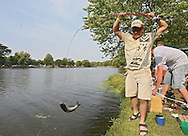 Greg Lacher, of Cedar Rapids, pulls in a fish during the 10th annual Boys & Girls Clubs of Cedar Rapids Fish-O-Rama at Robbins Lake in Cedar Rapids on Saturday, August 4, 2012. Organizers expected 1,200-1,500 participants in the weekend event. There were 426 prizes available to people who caught tagged fish. Prizes included a Toyota truck, boat, TVs, grills, bicycles, and gift certificates.
