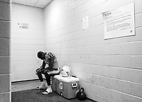Tennessee Titans Bernard Pollard in the locker room before the game against the Cincinnati Bengals in Cincinnati, Ohio on August 17, 2013. Photos by Donn Jones Photography.