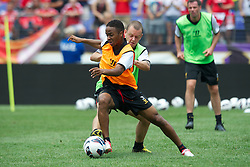 BALTIMORE, MD - Friday, July 27, 2012: Liverpool's Raheem Sterling and Jay Spearing during a training session ahead of the pre-season friendly match against Tottenham Hotspur at the M&T Bank Stadium. (Pic by David Rawcliffe/Propaganda)