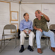 OCTOBER 24 - PONCE, PUERTO RICO - <br /> Veterans Miguel Busquets, 71, right, and Elvin Pagan, 78, inside a temporary hospital tent set up outside the Ponce VA hospital.<br /> (Photo by Angel Valentin/Freelance)