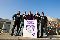 Pictured: David Albury, Mark Laughran, Matt O'Connor, Steven Mills and Nick Wolanski<br /> Members of Father's For Justice gathered outside the Scottish Parliament todayto highlight increased suicide risk. A new campaign, Forgotten Fathers, has been set up to encourage fathers to talk more about their love for their children after research found 23% of Scots believe that mothers love their children more than fathers.<br /> <br /> <br /> <br /> Ger Harley | EEm 14 February 2017