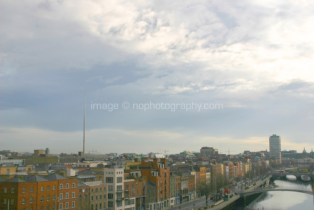 View of Dublin City with landmarks the River liffey and the Spire, Ireland