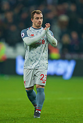 LONDON, ENGLAND - Monday, February 4, 2019: Liverpool's substitute Xherdan Shaqiri applauds the supporters after the FA Premier League match between West Ham United FC and Liverpool FC at the London Stadium. The game ended in a 1-1 draw. (Pic by David Rawcliffe/Propaganda)