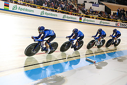 March 1, 2018 - Apeldoorn, Netherlands - Elisa Balsamo, Letizia Paternoster, Silvia Valsecchi and Tatiana Guderzo of Italy competes in the Women's Team Pursuit first round during UCI Track Cycling World Championships Apeldoorn 2018   in Apeldoorn, the Netherlands on 1st March 2018. The track cycling worlds take place from 28 February to 04 March. (Credit Image: © Foto Olimpik/NurPhoto via ZUMA Press)