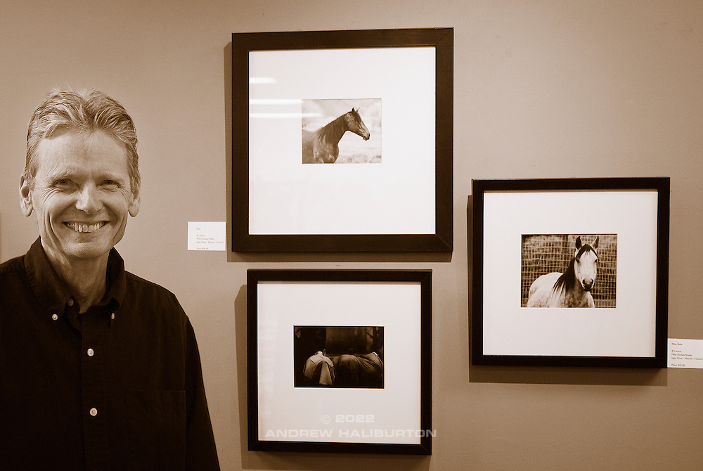 Richard Larson at the opening reception for his Nine Horses Studio photo exhibit.  Fuller Hall, First Unitarian Church, Portland, Oregon.