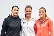 (L-R) Klaudia Jans Ignacik and Agnieszka Radwanska and Alicja Rosolska pose to team photo during press conference of Polish Tennis Association before Fed Cup match at National Stadium in Warsaw, Poland.<br /> <br /> Poland, Warsaw, December 15, 2014<br /> <br /> Picture also available in RAW (NEF) or TIFF format on special request.<br /> <br /> For editorial use only. Any commercial or promotional use requires permission.<br /> <br /> Mandatory credit:<br /> Photo by © Adam Nurkiewicz / Mediasport