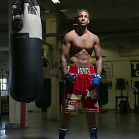 &copy; Andrew Baker .LONDON UK. 05_06_2013<br /> Canning Town Boxer WADI CAMACHO, TKO gym, East London.<br /> &copy;Andrew Baker 07977074356