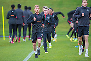 Oliver Bozanic (#7) of Heart of Midlothian leads a run during training, ahead of the visit of Rangers in the Scottish Premiership on 1st December 2018, at Oriam Sports Performance Centre, Riccarton, Scotland on 30 November 2018.