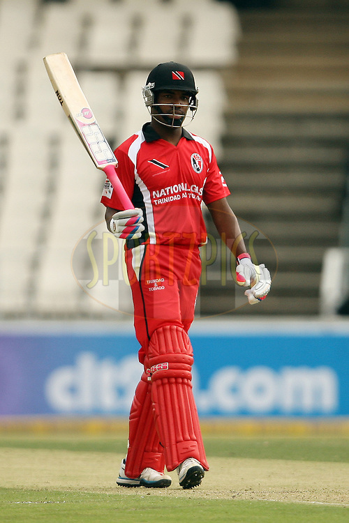 Darren Bravo celebrates his half century during the 5th Qualifying match of the Karbonn Smart CLT20 South Africa between Trinidad & Tobago and Uva Next held at the Wanderers Cricket Stadium, South Africa on the 11th October 2012. Photo by Jacques Rossouw/SPORTZPICS/CLT20