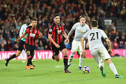 Andrew Surman (6) of AFC Bournemouth racing in to challenge Ander Herrera (21) of Manchester United during the Premier League match between Bournemouth and Manchester United at the Vitality Stadium, Bournemouth, England on 18 April 2018. Picture by Graham Hunt.