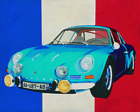 The 1973 Alpine Renault 1600-S has made its name in rallying sport. Which boys and girls did not look admiringly at the Alpine Renault 1600-S as it drove through their streets.<br /> There are still good and affordable copies of the Alpine Renault available. If you want to drive sporty retro, this Alpine is your thing.<br /> <br /> This painting of the 1973 Alpine Renault 1600-S in front of the French flag can be purchased in various sizes and printed on canvas as well as wood and metal. You can also have the painting finished with an acrylic plate over it which gives it more depth.<br /> <br /> -<br /> BUY THIS PRINT AT<br /> <br /> FINE ART AMERICA<br /> ENGLISH<br /> https://janke.pixels.com/featured/alpine-renault-1600-s-1973-with-french-flag-jan-keteleer.html<br /> <br /> <br /> WADM / OH MY PRINTS<br /> DUTCH / FRENCH / GERMAN<br /> https://www.werkaandemuur.nl/nl/shopwerk/Alpine-Renault-1600-S-1973-met-Franse-vlag/661125/132?mediumId=15