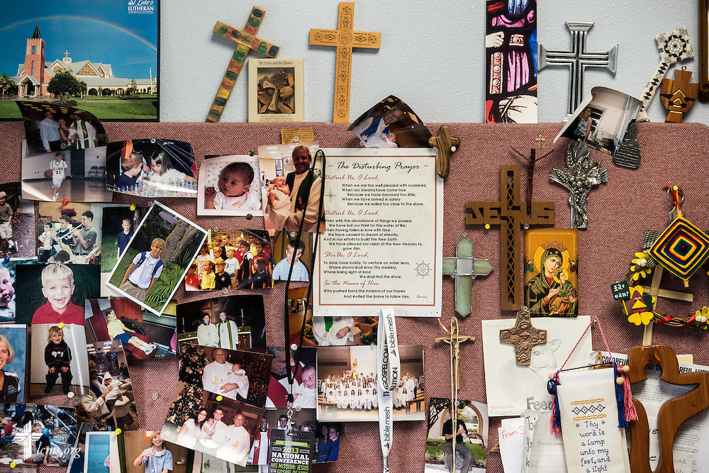 Photographs and other mementos hang on the office wall of the Rev. Wally Arp, senior pastor of St. Luke's Lutheran Church, on Saturday, March 5, 2016, in Oviedo, Fla. LCMS Communications/Erik M. Lunsford
