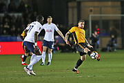 Newport  Scott Bennett (17) controls the ball during the The FA Cup 4th round match between Newport County and Tottenham Hotspur at Rodney Parade, Newport, Wales on 27 January 2018. Photo by Gary Learmonth.