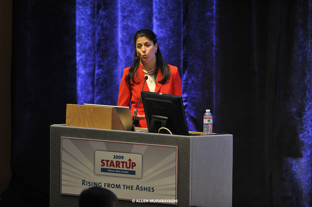 Chief executive Cheryl Milone of Article One Partners describes her company's services. Article One Partners won the $50,000 prize at the inaugural Silicon Alley Reporter Start-up 2009 Conference.