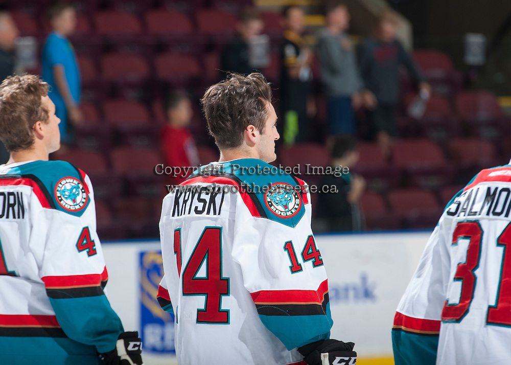KELOWNA, CANADA - SEPTEMBER 3: Jake Kryski #14 of Kelowna Rockets lines up against the Victoria Royals on September 3, 2016 at Prospera Place in Kelowna, British Columbia, Canada.  (Photo by Marissa Baecker/Shoot the Breeze)  *** Local Caption *** Jake Kryski;