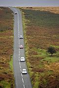 Cars on  a country road in Dartmoor, Devon,  United Kingdom
