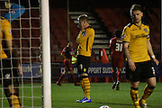 Scott Boden holds his head in his hands after heading into his own net during the Sky Bet League 2 match between Crawley Town and Newport County at the Checkatrade.com Stadium, Crawley, England on 1 March 2016. Photo by Michael Hulf.