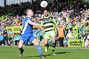 North Ferriby United defender Sam Topliss (2) clears from Forest Green Rovers midfielder Fabien Robert (26) 0-0 during the Vanarama National League match between Forest Green Rovers and North Ferriby United at the New Lawn, Forest Green, United Kingdom on 1 April 2017. Photo by Alan Franklin.