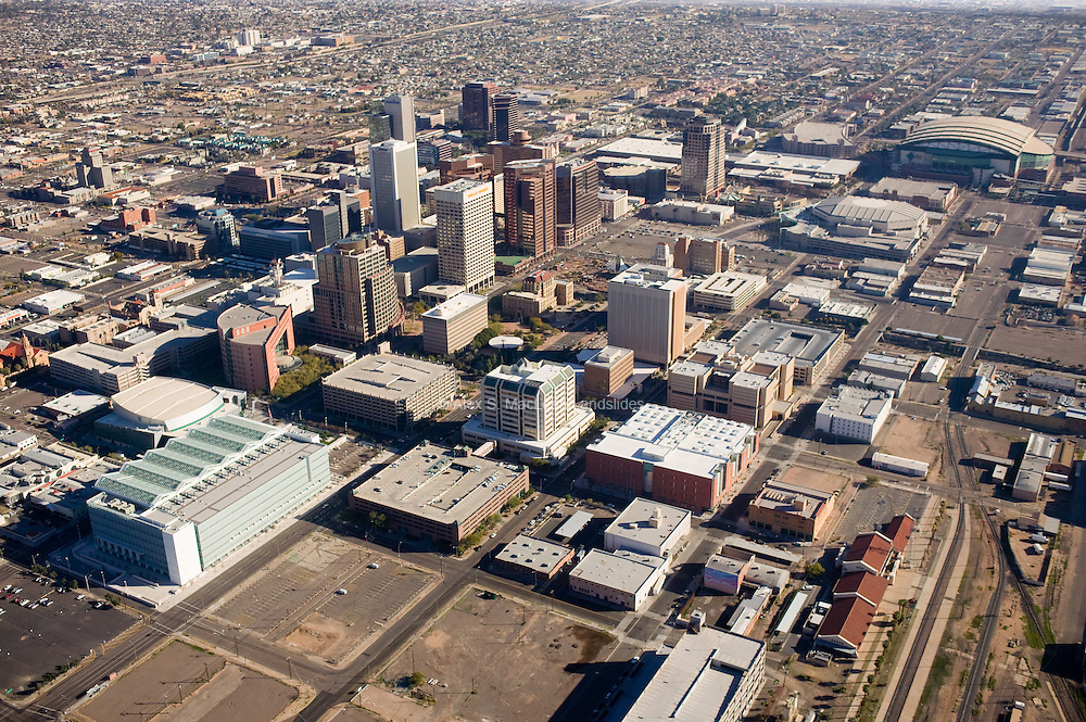 Lots for surface and structured parking create pedestrian dead space in Phoenix's central business district.
