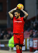 Callum Kennedy looks for options during the EFL Sky Bet League 2 match between Leyton Orient and Barnet at the Matchroom Stadium, London, England on 7 January 2017. Photo by Jack Beard.