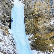 Andrew Stone and Shane Nelson climbing Professor Falls rated WI4 in Banff National Park