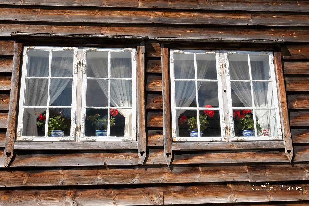 An old timber house in the Hardanger Folk Museum in Utne, Hardanger Fjord, Vestlandet, Norway