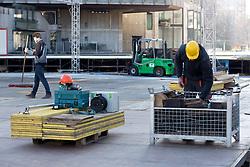 Construction of ice rink on Repulic Square for Winter Classic of HDD Telemach Olimpija called Pivovarna Union Ice Fest 2014, on December 10, 2014 on Republic Square, Ljubljana, Slovenia. (Photo By Matic Klansek Velej / Sportida.com)