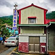 A small tin-roof True Jesus church in Maya Village, Namasia District, Kaoshiung, Taiwan