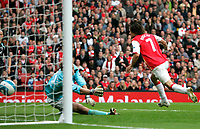 Photo: Tom Dulat.<br /> Arsenal v Bolton Wanderers. The FA Barclays Premiership. 20/10/2007.<br /> Tomas Rosicky scores second goal for Arsenal. Arsenal leads 2-0