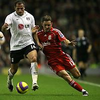 Photo: Paul Greenwood/Sportsbeat Images.<br />Liverpool v Fulham. The FA Barclays Premiership. 10/11/2007.<br />Fulham's Shefki Kuqi, (L) battles with Fabio Aurelio
