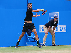 June 23, 2017 - London, United Kingdom - Grigor Dimitrov BUL against Daniil Medvedev (RUS) during Men's Singles Quarter Final match on the fourth day of the ATP Aegon Championships at the Queen's Club in west London on June 23, 2017  (Credit Image: © Kieran Galvin/NurPhoto via ZUMA Press)