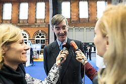 © Licensed to London News Pictures . 02/10/2017. Manchester, UK. JACOB REES-MOGG is interviewed by European media at the conference . The second day of the Conservative Party Conference at the Manchester Central Convention Centre . Photo credit: Joel Goodman/LNP
