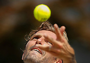 epaselect epa06865397 Julien Benneteau of France serves to Frances Tiafoe of USA in their second round match during the Wimbledon Championships at the All England Lawn Tennis Club, in London, Britain, 05 July 2018. EPA-EFE/NIC BOTHMA EDITORIAL USE ONLY/NO COMMERCIAL SALES