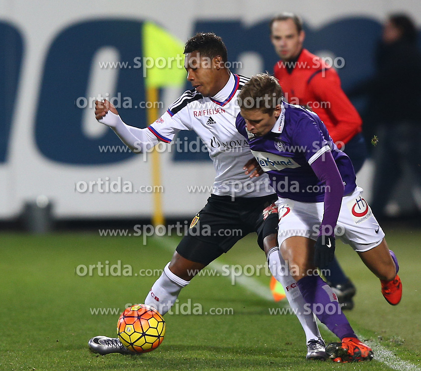 29.01.2016, Generali Arena, Wien, AUT, Testspiel, FK Austria Wien vs FC Basel, im Bild Jean Paul Boetius (FC Basel) und Jens Stryger Larsen (FK Austria Wien) // during a preperation Football Match between FK Austria Wien vs FC Basel at the Generali Arena in Vienna, Austria on 2016/01/29. EXPA Pictures © 2016, PhotoCredit: EXPA/ Thomas Haumer
